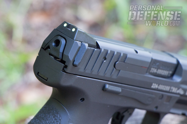 A protruding polymer charging support ensures a positive grip on the slide when running the gun.