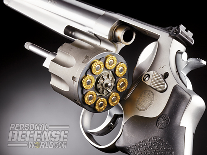 The S&W Model 929 9mm revolver features a titanium cylinder that has been cut to accept eight-round full moon clips.