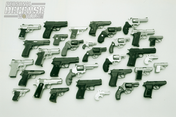 The 32 handguns concealed by John Bianchi.