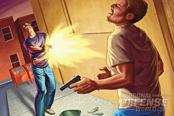 Shot in the side, the would-be victim drew his Glock 17 and replied with two rounds of 9mm, decisively dropping his murderous assailant.
