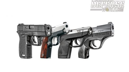 From left to right: Diamondback DB380, Kimber Micro CDP (LG), Taurus 738 TCP, and Beretta Pico