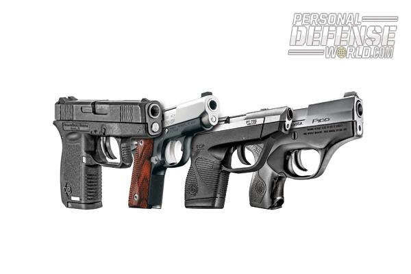 From left to right: Diamondback DB380, Kimber Micro CDP (LG), Taurus 738 TCP, and Beretta Pico