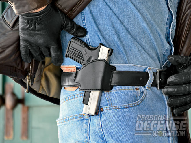 The Bianchi 101 Foldaway (size 16) is actually half a holster, your belt becomes the back half after running it through the 101's loops. It keeps the gun well concealed and close to the body.