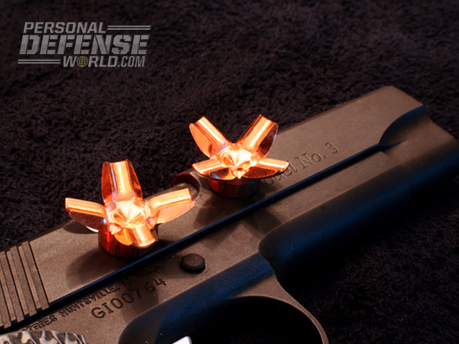 Guncrafter's 230-grain CHP ammo expands to a 1-inch diameter in gelatin.