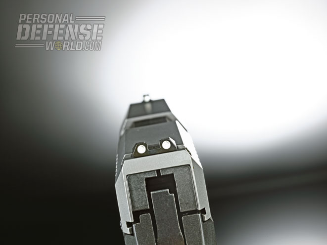 The three-dot sights are easy to pick up and get on target.