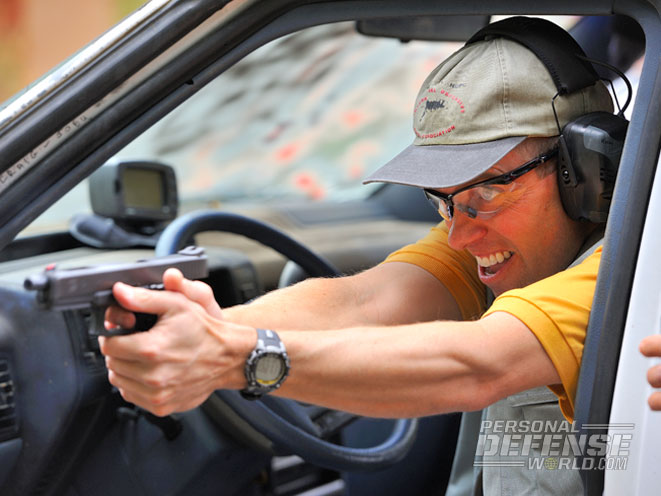 Here an IDPA competitor, while timed, tackles distant targets from behind the wheel of a car—a common situation for many people who have to defend themselves in the real world.