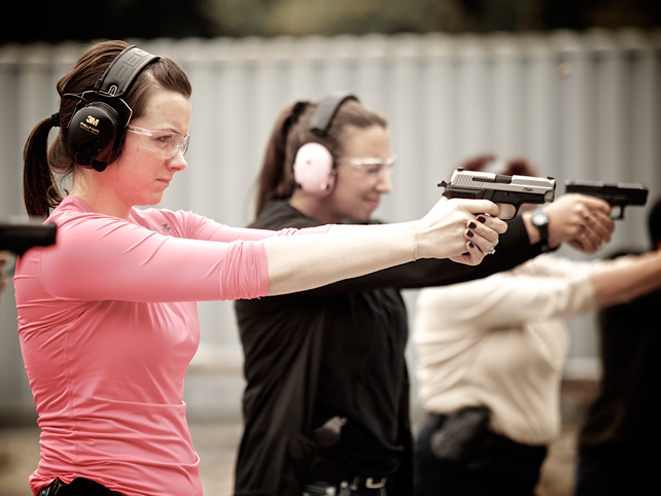 Ladies-Only Firearms Training Classes, firearms training, firearms training class, ladies-only gun training, sig sauer gun aiming