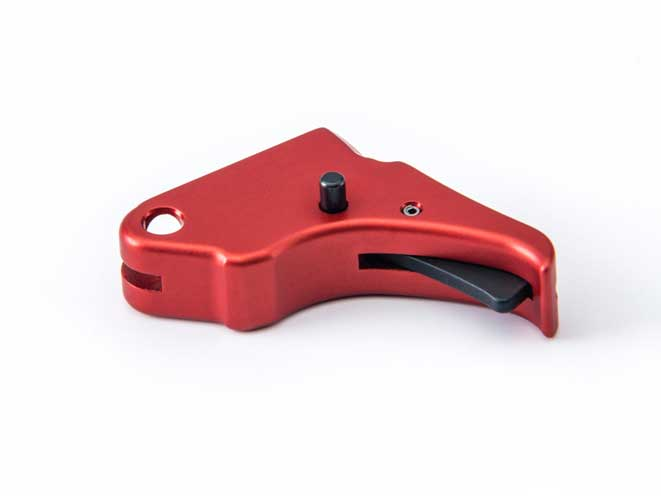 Red Anodized M&P Shield Action Enhancement Trigger, apex tactical trigger, apex tactical red anodized trigger