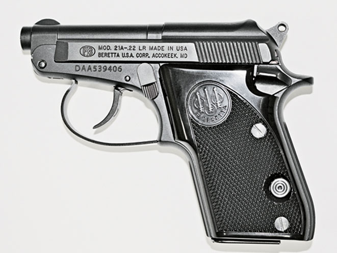 Beretta's Model 21A is popular for concealed carry. Its tip-up barrel makes it easy to load, especially by those who lack the finger strength to grip and cycle the diminutive slide.