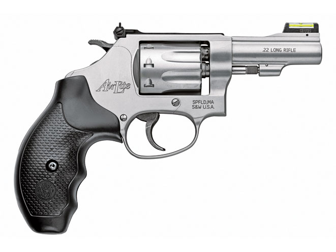 "This lightweight, 3-inch-barreled S&W Model 317 is an ideal .22 LR ""kit gun"" for camping trips. Recoil-sensitive shooters can also use it for home defense."