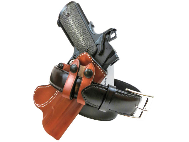 A DeSantis Inner Piece IWB holster is paired with a Galco SB3 Dress Belt.