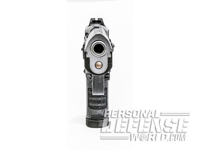 The Pavona Compact has a fixed, red-dot front sight and a windage-adjustable, white-dot rear sight.