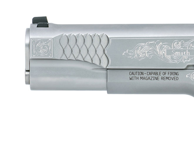 Smith & Wesson, SW1911, smith & wesson SW1911, engraved SW1911, smith & wesson engraved SW1911, SW1911 muzzle