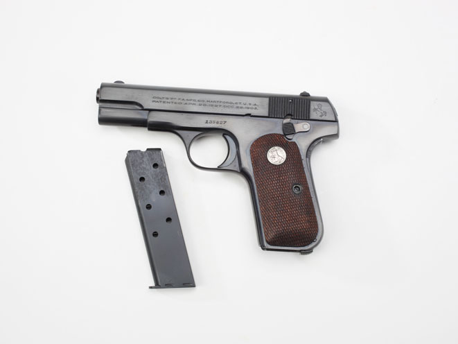 colt, colt pocket hammerless, pocket hammerless, pocket hammerless model 1903, pocket hammerless model 1908, pocket hammerless 1903, pocket hammerless 1908, colt general officer's pistol, colt general officer's pistols, colt isaac white model 1908 semi auto