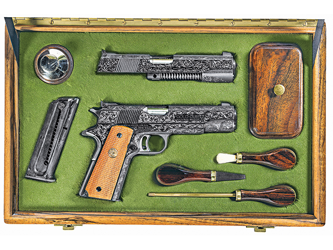 colt model 1911, 1911, model 1911, 1911 engraving, model 1911 gun engraving, government model 1911a1, national match pistols, jan gwinnell engraving, handguns, gun case