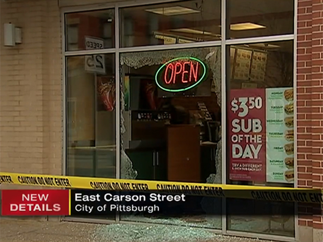subway robber shot