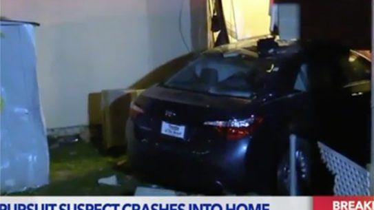 california car thief home crash
