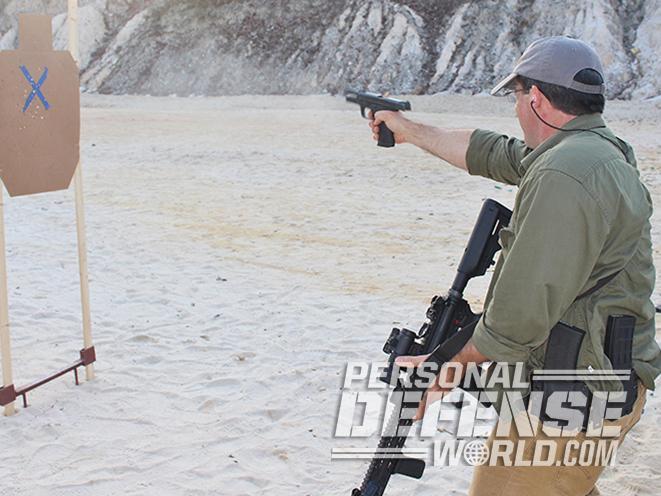 active shooters gun transitioning