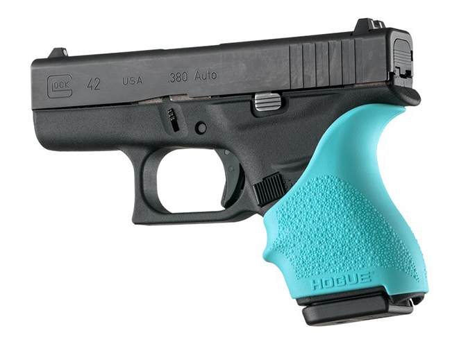 hogue aqua blue grips for glock 42 and 43