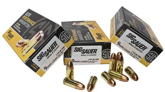 sig sauer 9mm FMJ elite performance ammunition
