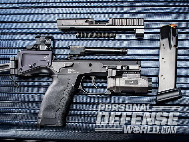 B&T USW pistol carbine disassembled