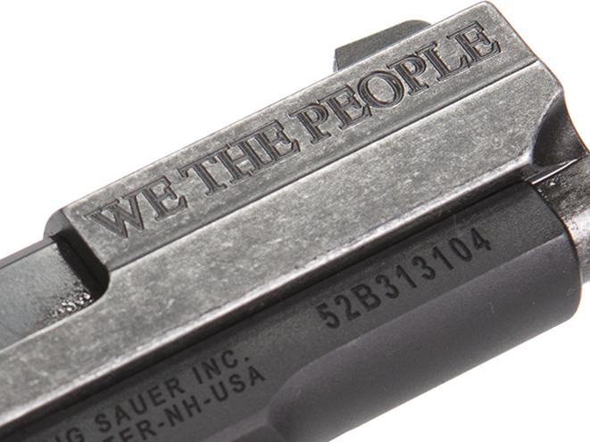 Sig Sauer P938 We The People pistol engravings