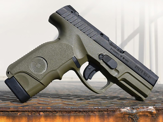 Steyr M9-A1 OD Green pistol right angle