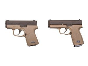 kahr cw380 and cw9 cerakote patriot brown pistols