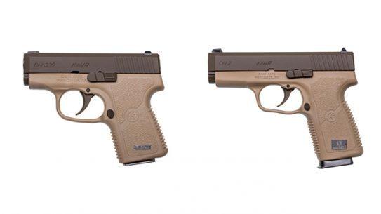 kahr cw380 and cw9 cerakote patriot brown pistols