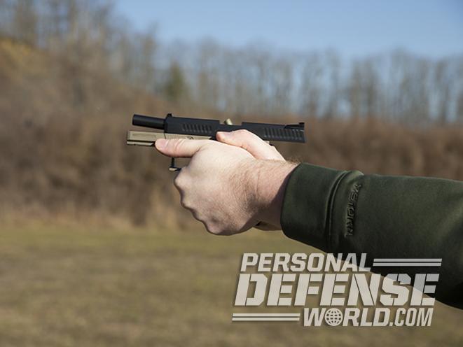 CZ P-10 C FDE pistol firing