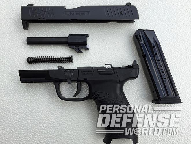 Walther Creed pistol disassembled