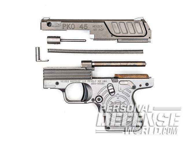 Heizer Defense PKO-45 pistol disassembled