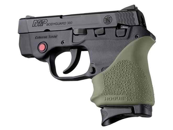 od green Hogue HandALL beavertail grip for s&w bodyguard 380