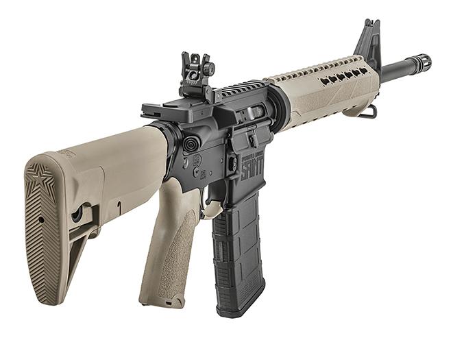 Springfield Saint FDE rifle rear angle