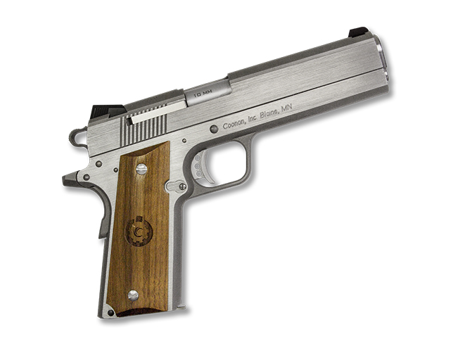 Coonan MOT 10 10mm stainless steel pistol rendezvous right