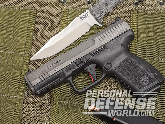 Canik TP9SF Elite pistol with knife