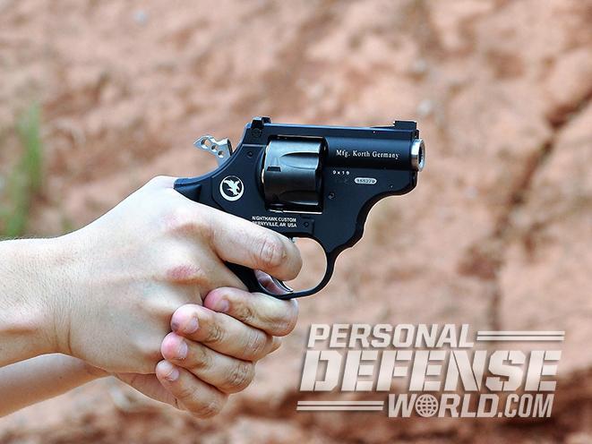 nighthawk korth sky hawk revolver aiming closeup