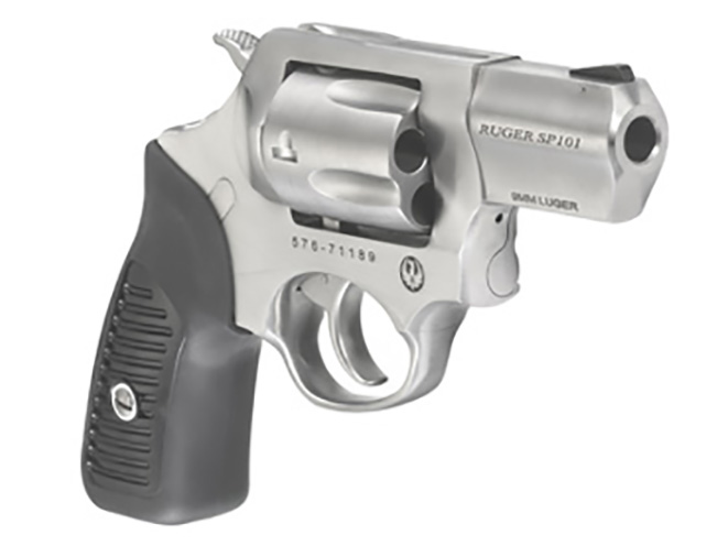 Ruger SP101 9mm revolver left angle