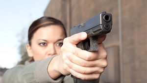 arby's employee aiming glock pistol