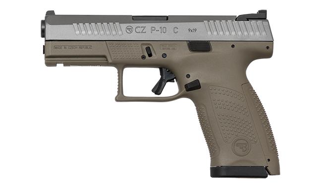 cz p-10 c FDE White Nitride pistol left profile