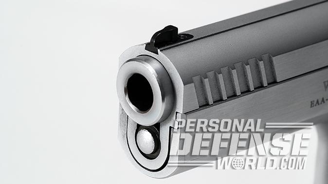 EAA Witness Elite Stock II 10mm pistol muzzle