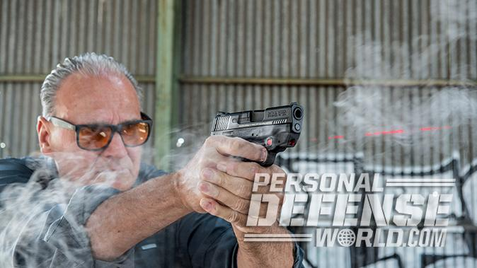Smith & Wesson M&P9 Shield M2.0 pistol shooting
