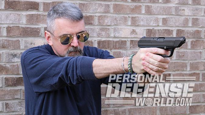HK VP70 pistol aiming right angle