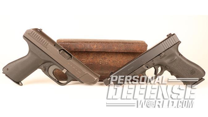 HK VP70 pistol and glock 22 pistol comparison