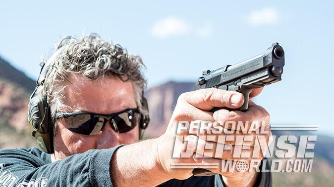 Wilson/Beretta 92G Centurion Tactical pistol shooting