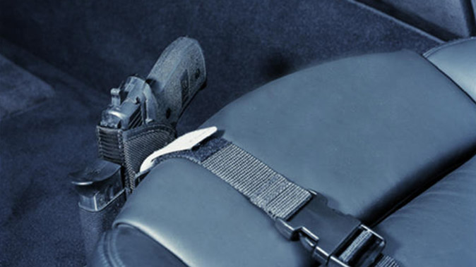 DeSantis Kingston Car Seat Holster attached