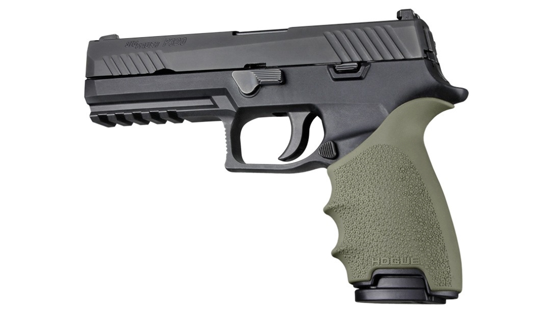 hogue handall beavertail grip p320 black od green