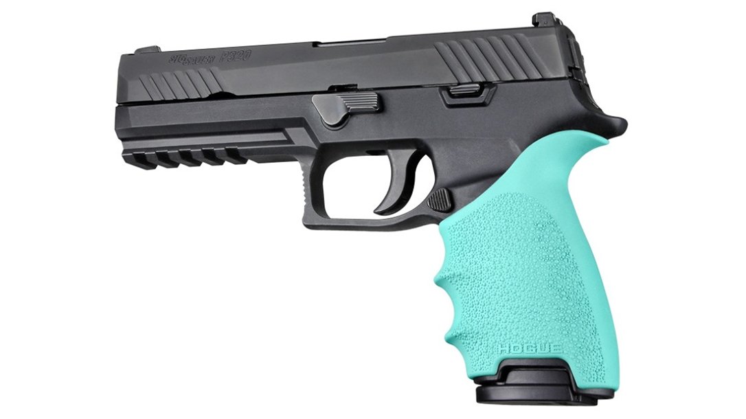 hogue handall beavertail grip p320 black aqua