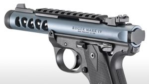 Ruger Mark IV 22/45 Lite diamond gray pistol left angle