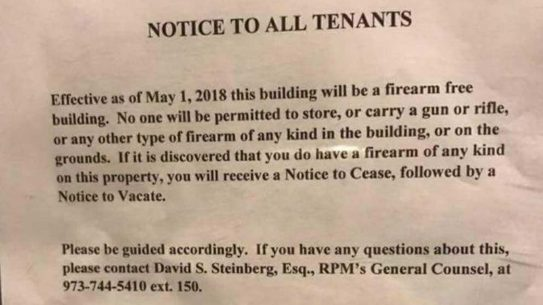 new jersey housing developer gun sign